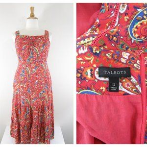 Talbots Orange Paisley Printed Peasant Maxi Dress